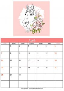 Blank April Calendar Template Printable Vector Header 2