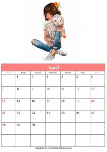 Blank April Calendar Template Printable Vector Header