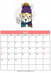 Blank April Calendar Template Printable Vector Header 3