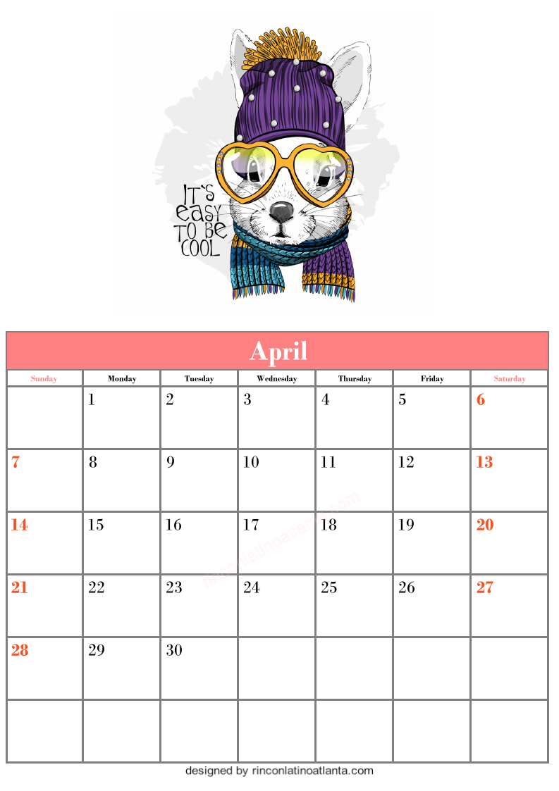Blank April Calendar Template Printable