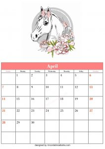 Blank April Calendar Template Printable Vector Header 5