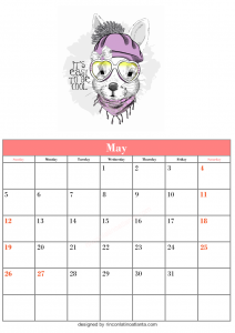 Blank May Calendar Template Printable Cute Vector