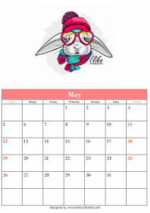 Blank May Calendar Template Printable Rabbit Vector