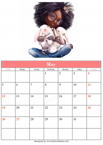 Blank May Calendar Template Printable Vector Cute Header