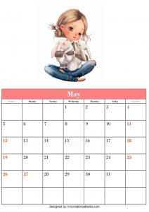 Blank May Calendar Template Printable Vector Header
