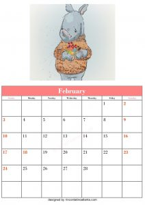 Free Blank February Calendar Printable Animal Vector Cute Rhino
