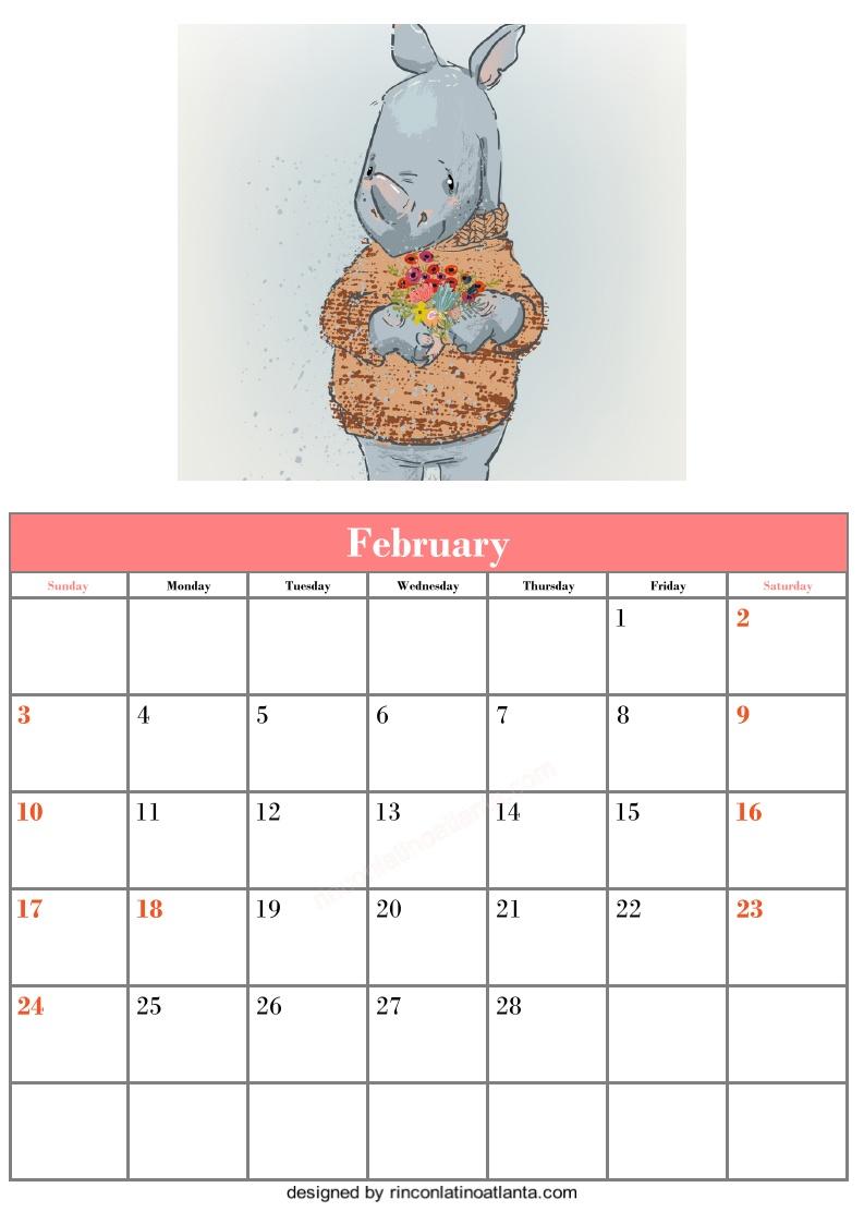 Free Blank February Calendar Printable