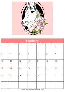 Free Blank February Calendar Printable Horse Vector Animal Cute