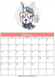 Free Blank February Calendar Printable Rabbit Vector Cute And Funny