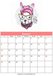 Free Blank January Calendar Printable Dog Vector Animal