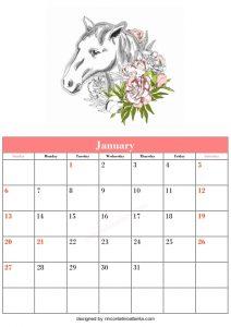 Free Blank January Calendar Printable Horse Vector