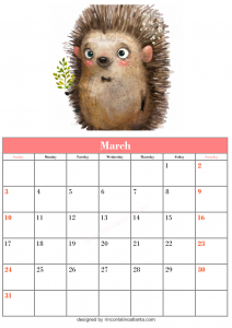 Free March Blank Calendar Printable Cute Animal Vector Download