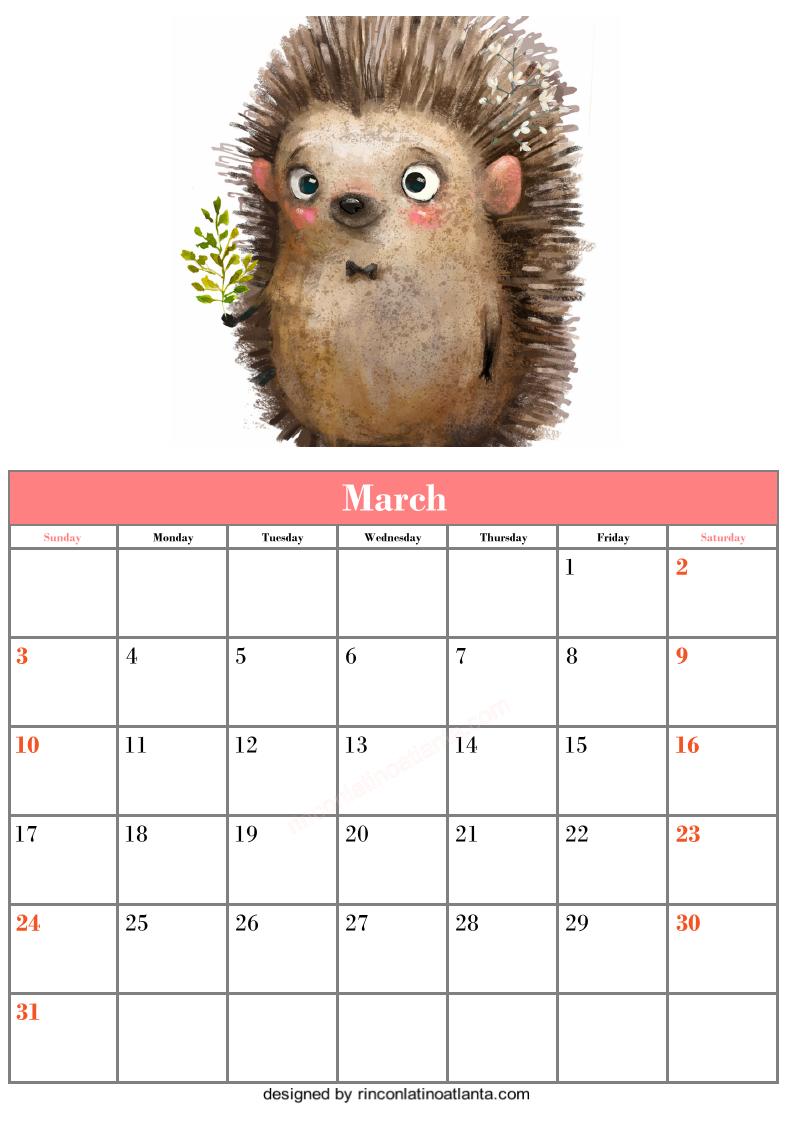 Free March Blank Calendar Printable