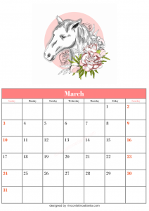 Free March Blank Calendar Printable Horse Vector Cute Downloadable