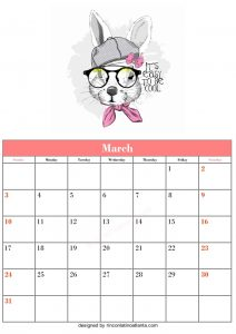 Free March Blank Calendar Printable Rabbit Vector Wonderfull Cute