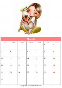 Free March Blank Calendar Printable Vector Girls and Cute Dog