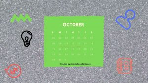 10 October One Year Calendar Countdown Printable