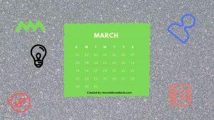 3March One Year Calendar Countdown Printable