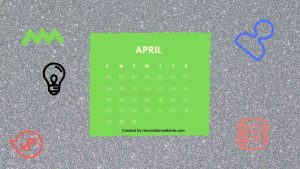 4 April One Year Calendar Countdown Printable