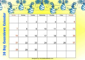 4 Unix Design 30 Day Countdown Calendar Printable Free Yellow Gradient