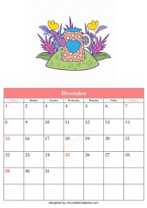 5 Blank December Calendar Printable Template Vector Floral 2