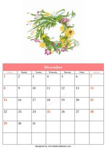 5 Blank December Calendar Printable Template Vector Floral