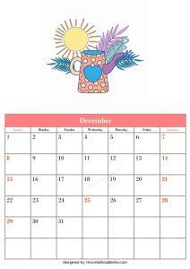 5 Blank December Calendar Printable Template Vector Floral 4