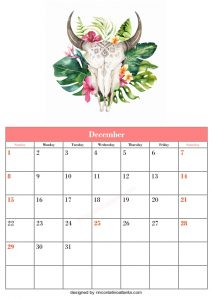 5 Blank December Calendar Printable Template Vector Floral Cow Header