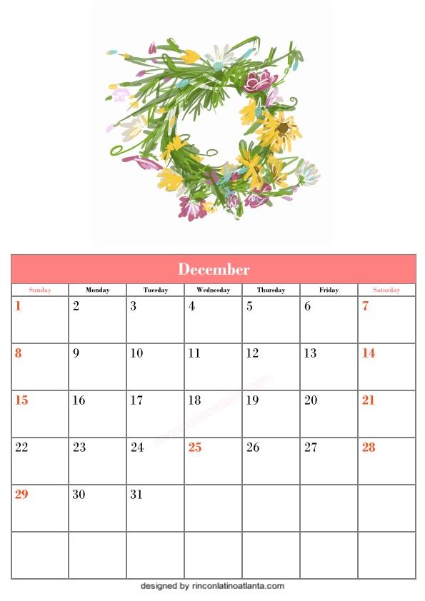 Blank December Calendar Printable Template