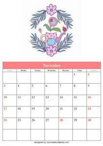 5 Blank November Calendar Printable Template Vector 2