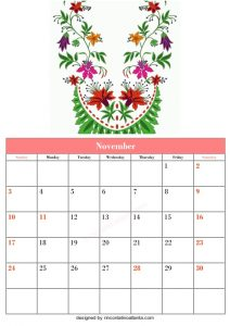 5 Blank November Calendar Printable Template Vector 3