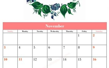5 Blank November Calendar Printable Template Vector