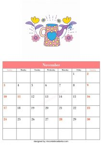 5 Blank November Calendar Printable Template Vector 4