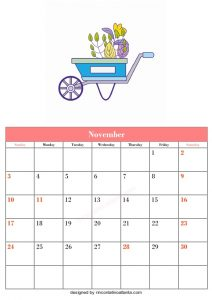 5 Blank November Calendar Printable Template Vector 5