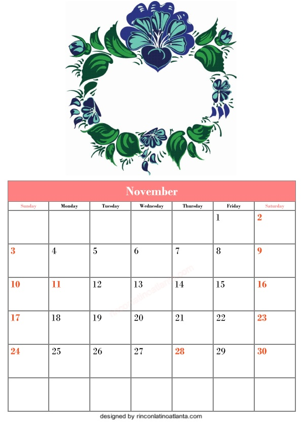 Blank November Calendar Printable Template