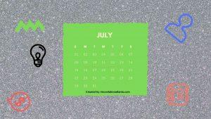 7 July One Year Calendar Countdown Printable