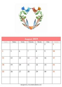 Blank August Printable Calendar Animal And Floral Vector