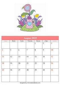Blank August Printable Calendar Cute Vector Flower