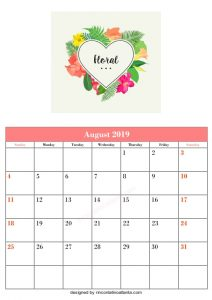 Blank August Printable Calendar Floral Vector Template