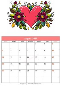 Blank August Printable Calendar Flower Vector