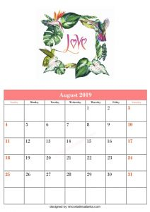 Blank August Printable Calendar Love Flower Vector