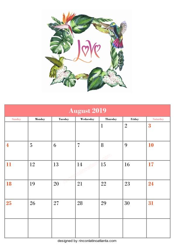 Blank August Printable Calendar