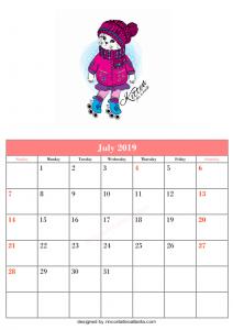 Blank July Calendar Printable Template Format