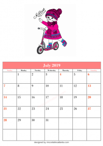 Blank July Calendar Printable Template Kitten Top Vector