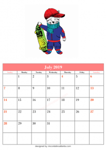 Blank July Calendar Printable Template Kitten Top Vector Skateboard