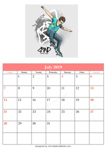 Blank July Calendar Printable Template Kitten Top Vector Very Best