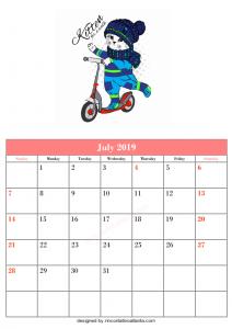 Blank July Calendar Printable Template Kitten Vector