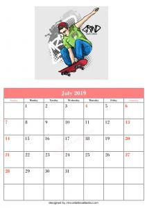 Blank July Calendar Printable Template Skate Park Vector