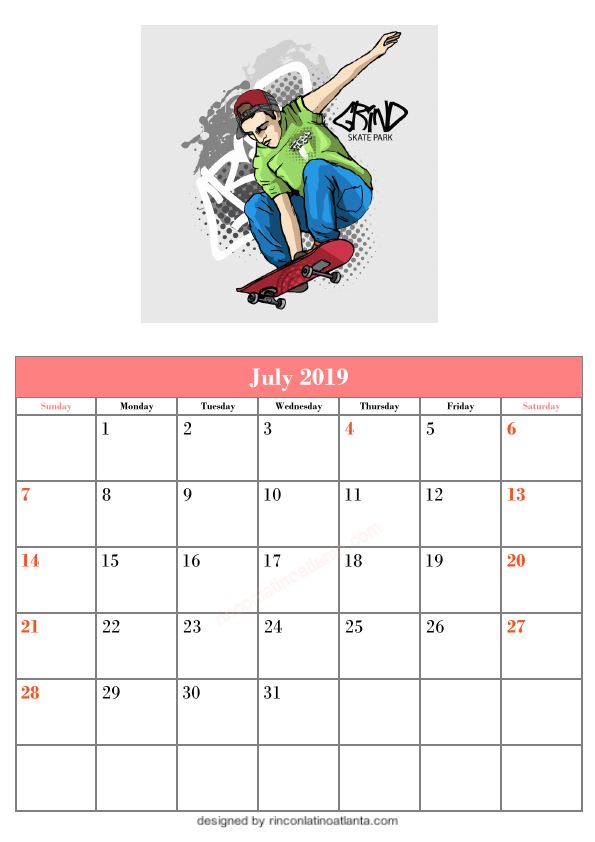 Blank July Calendar Printable Template