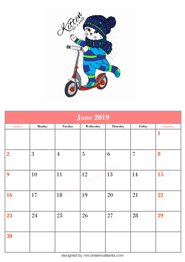 Blank June Calendar Printable Template